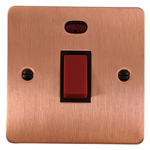 G&H FRG46B Flat Plate Rose Gold 45 Amp DP Cooker Switch & Neon Single Plate